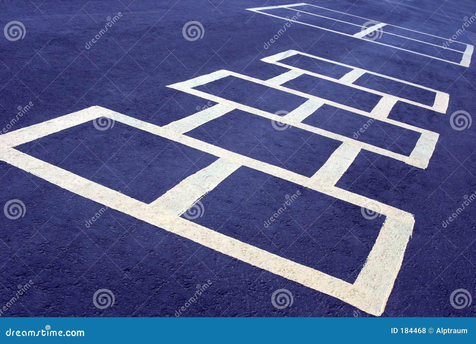 Bianco del gioco di Hopscotch sull azzurro