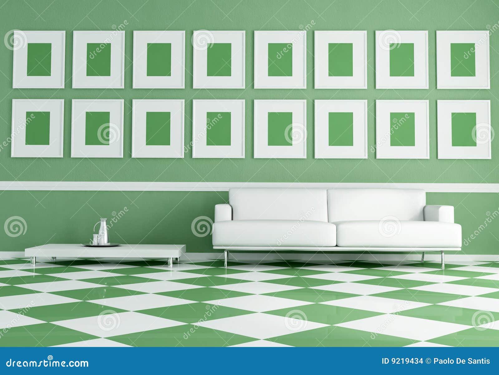 Bianco del sof di verde del pavimento della scacchiera for Disegni unici del pavimento