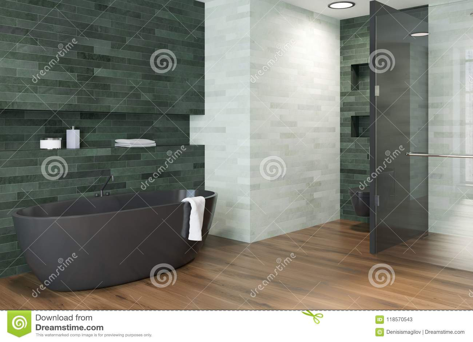Bianco vista laterale del bagno della vasca di lusso verde