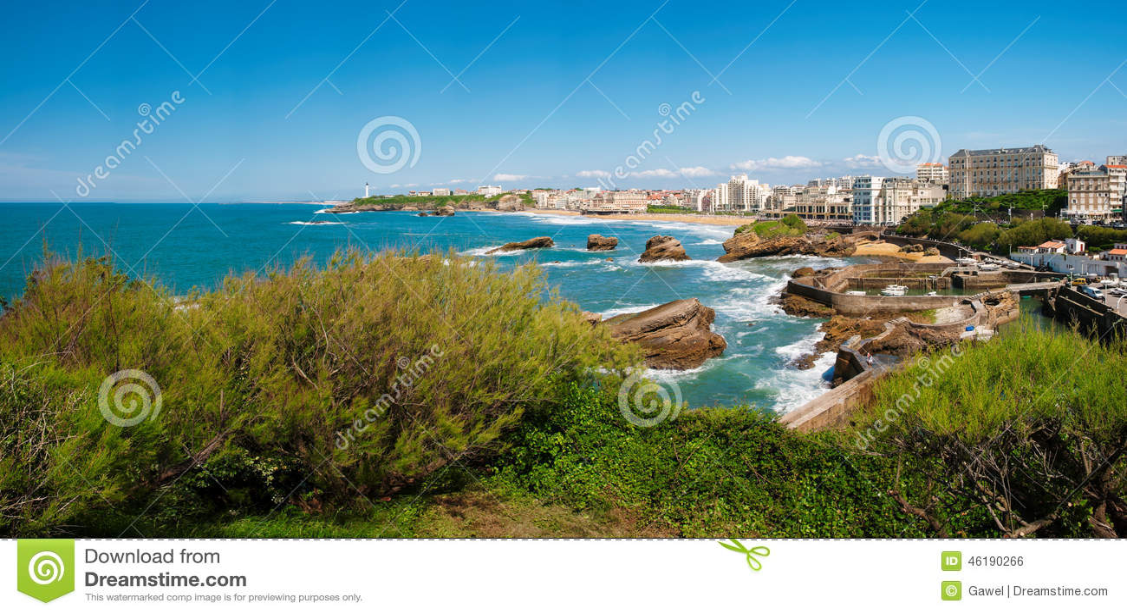 Biarritz, Panorama des Leuchtturmes, des Strandes und der Stadt, Frankreich