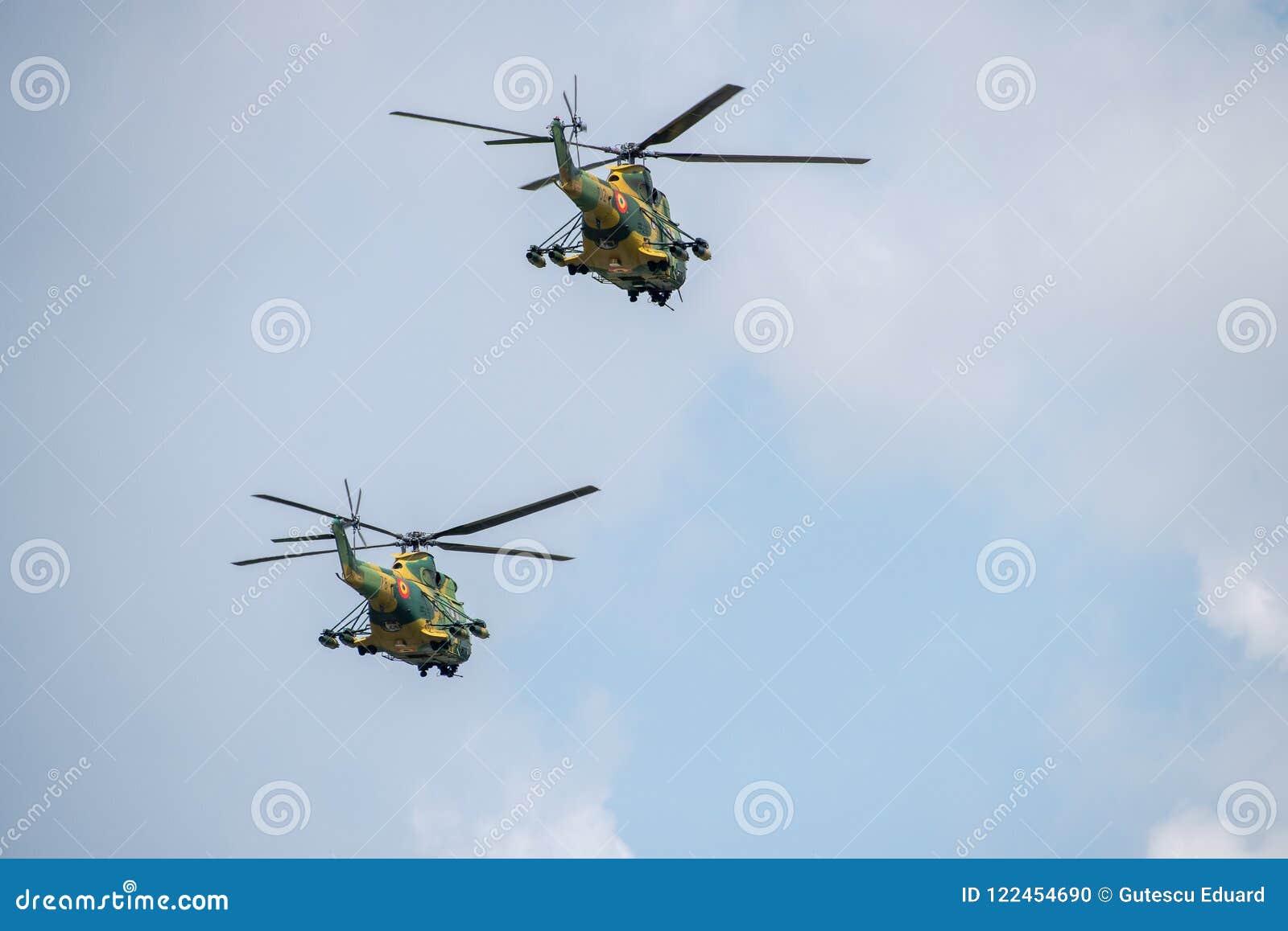BIAS toont de internationale lucht van Boekarest, van de Poemasocat van IAR 330 de Helikopterdemonstratie