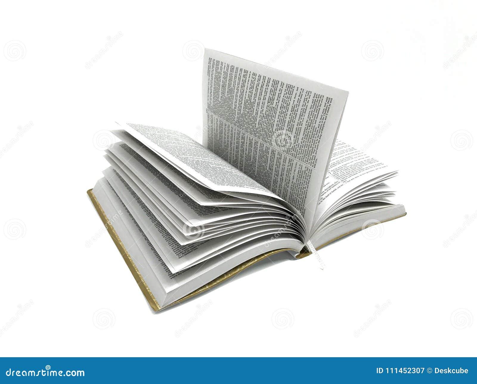 Bibbia del libro aperto nell immagine bianca della foto del fondo