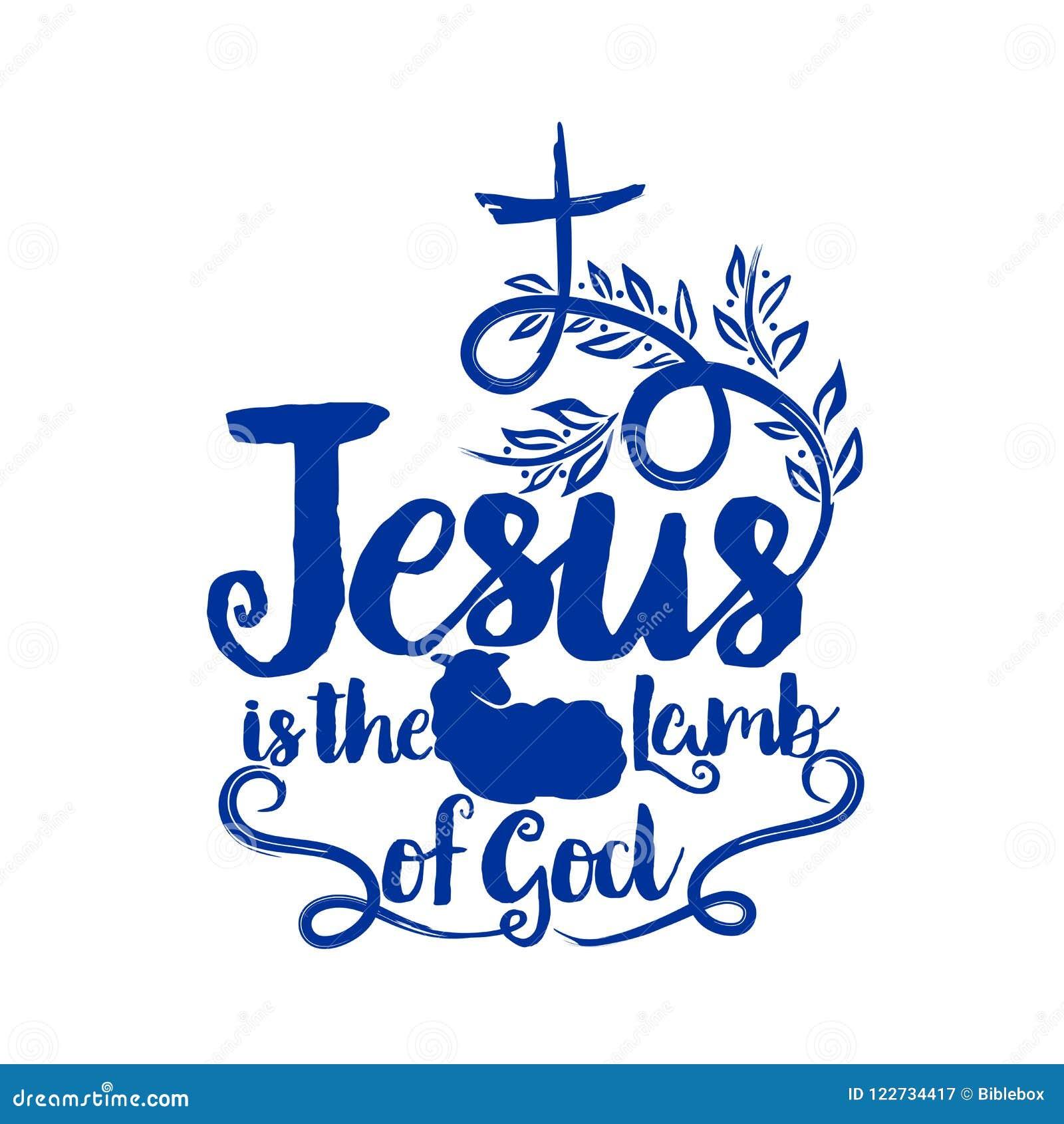 Bibelbokstäver Kristen konst Jesus ia lammet av guden