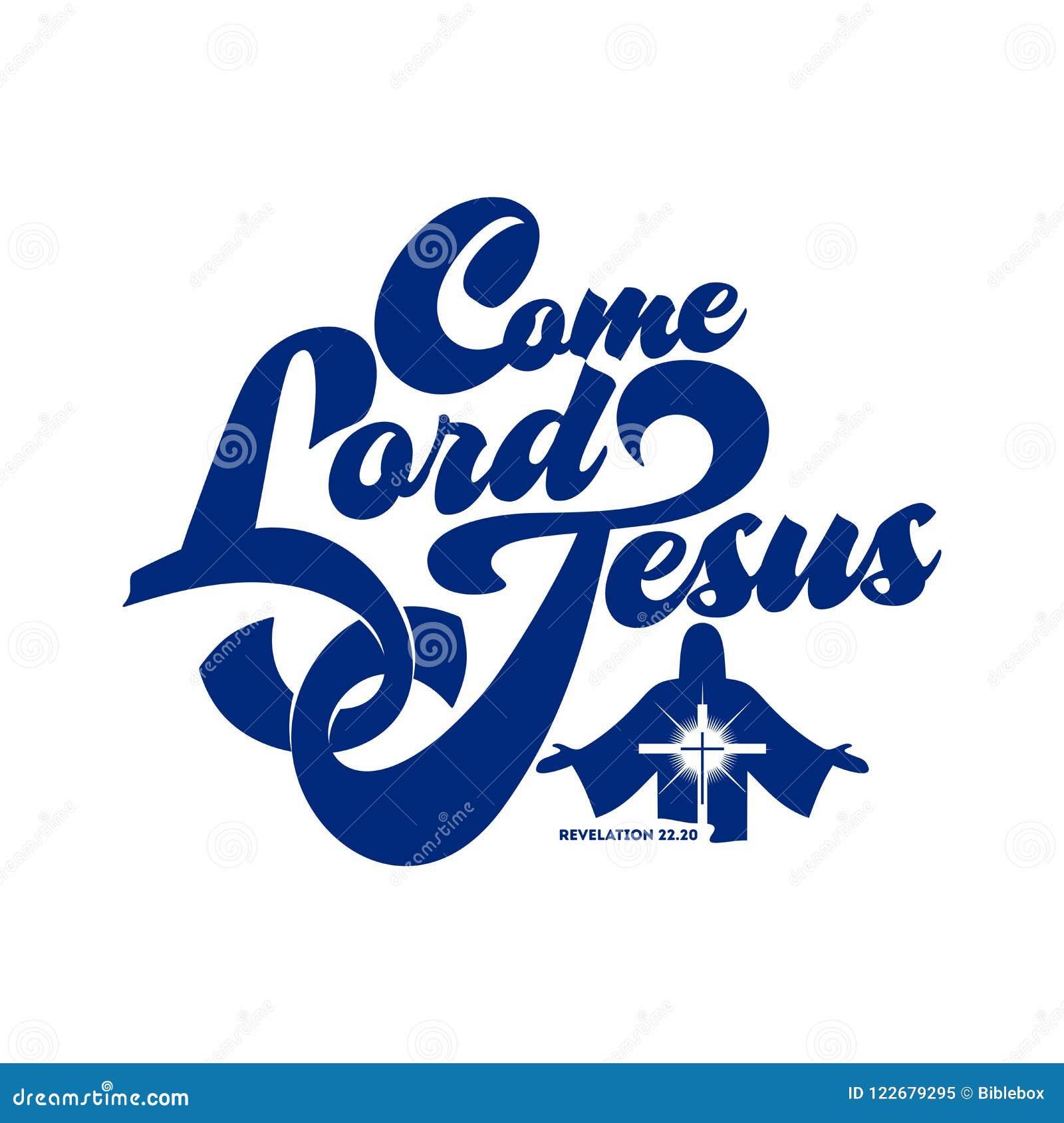 Bibelbokstäver Kristen konst Kommet Lord Jesus