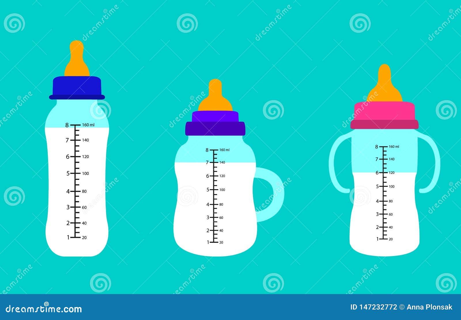 Biberons de lait Conception plate