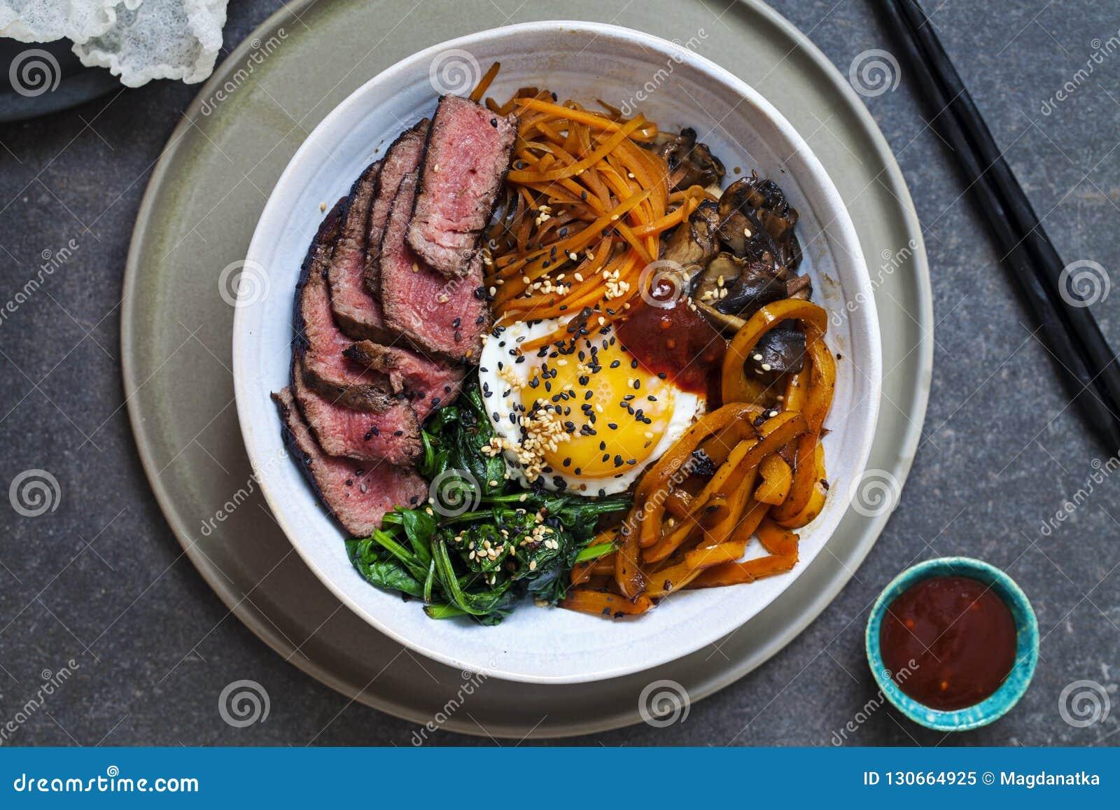 Bibimbap, carne de vaca coreana y verduras