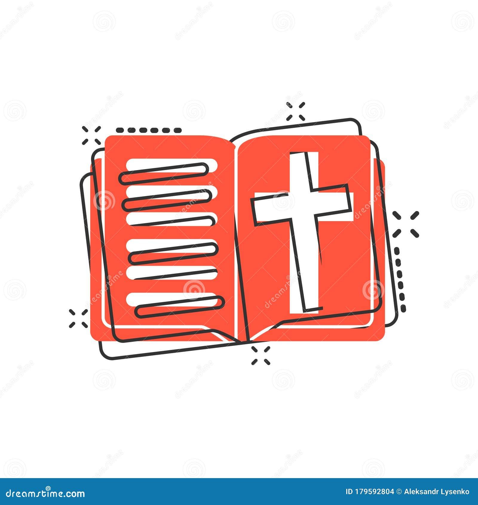 Bible Book Icon In Comic Style. Church Faith Cartoon ...