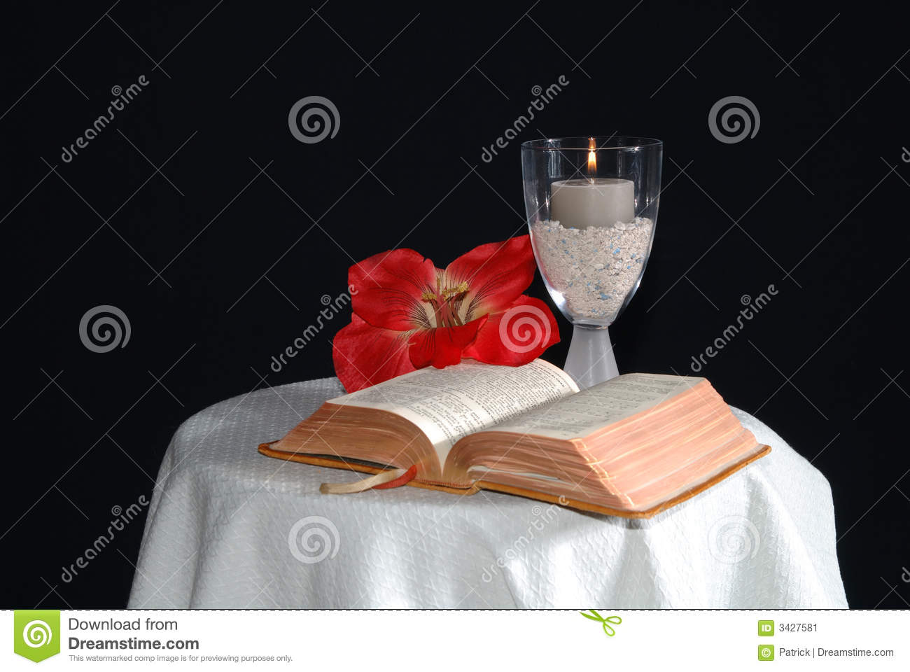Bible With Candle And Flower Stock Image Image Of Catholic