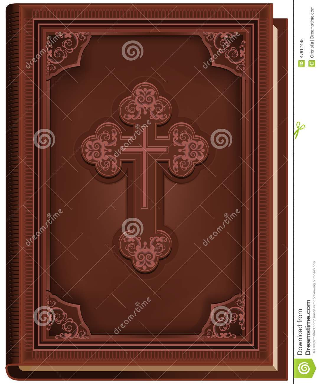 Vintage Leather Look Jeremiah Verse Bible Book Cover Large: The Bible. Closed Book With A Cross On The Cover Stock