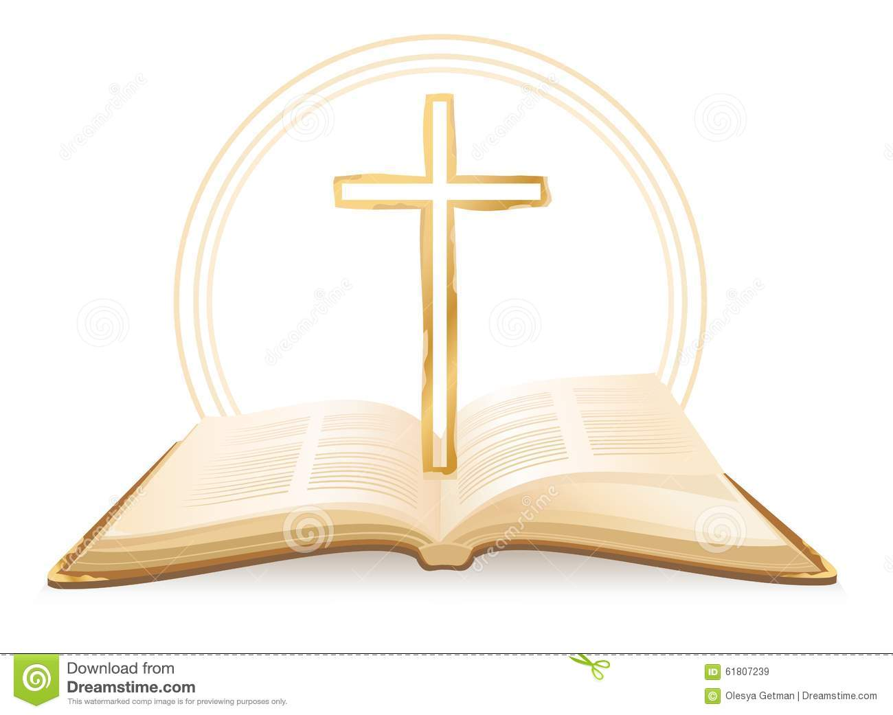 Opened Holy Bible with cross above it. Vector illustration.