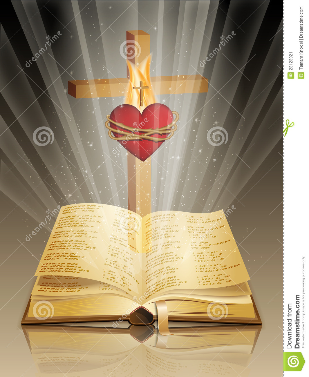 Bible With Cross And Sacred Heart Stock Image - Image: 23123921