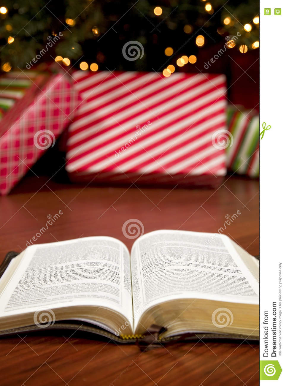 Bible In Front Of A Christmas Tree Stock Image - Image of open