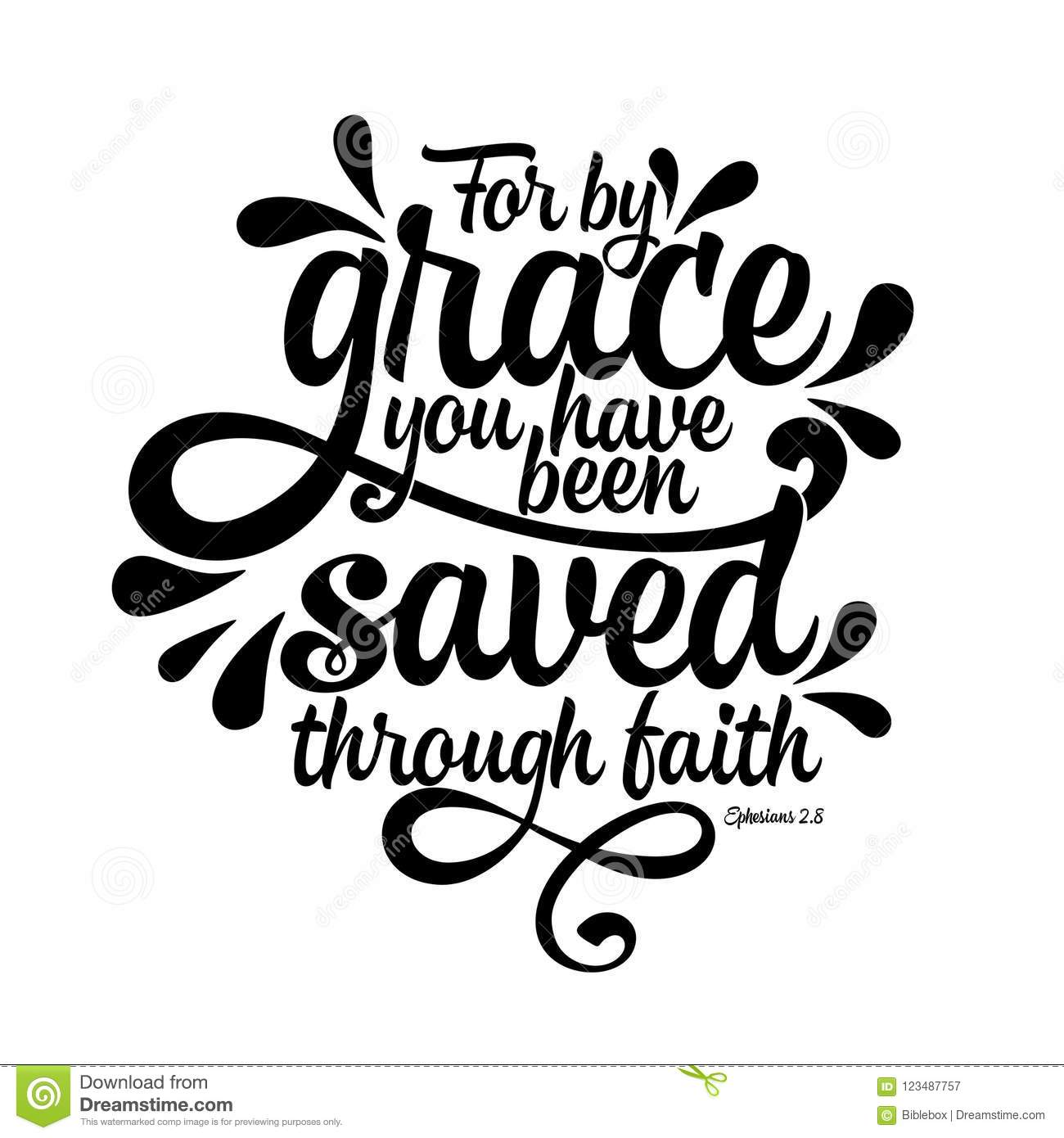 Bible Lettering  Christian Illustration  For By Grace You Have Been