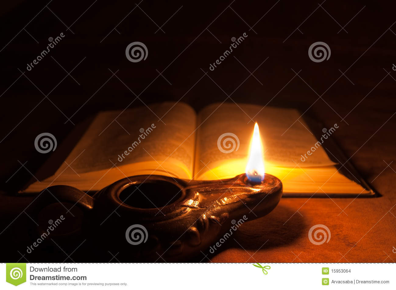 Bible and Oil Lamp