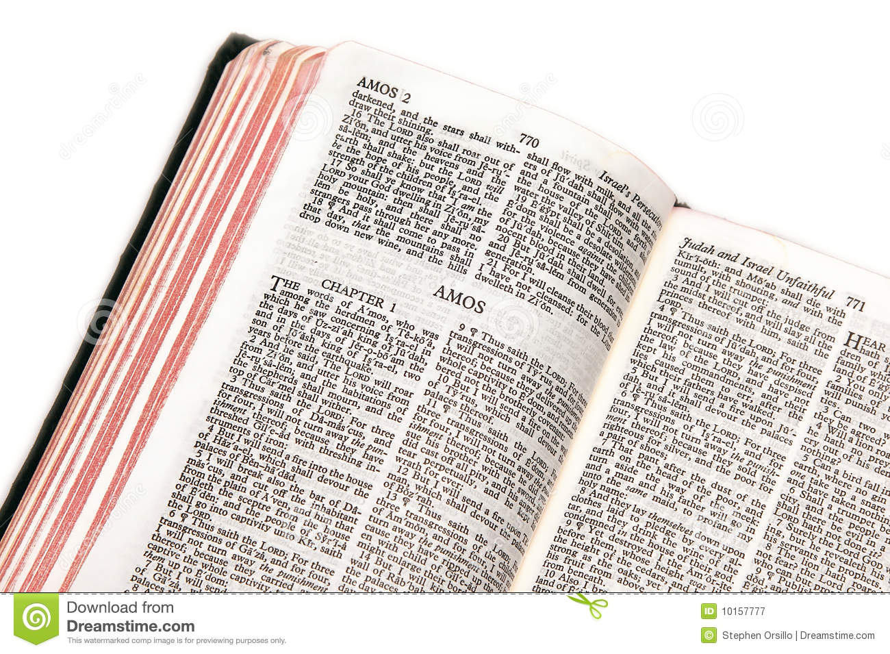 Bible Open To Amos Royalty Free Stock Photography Image