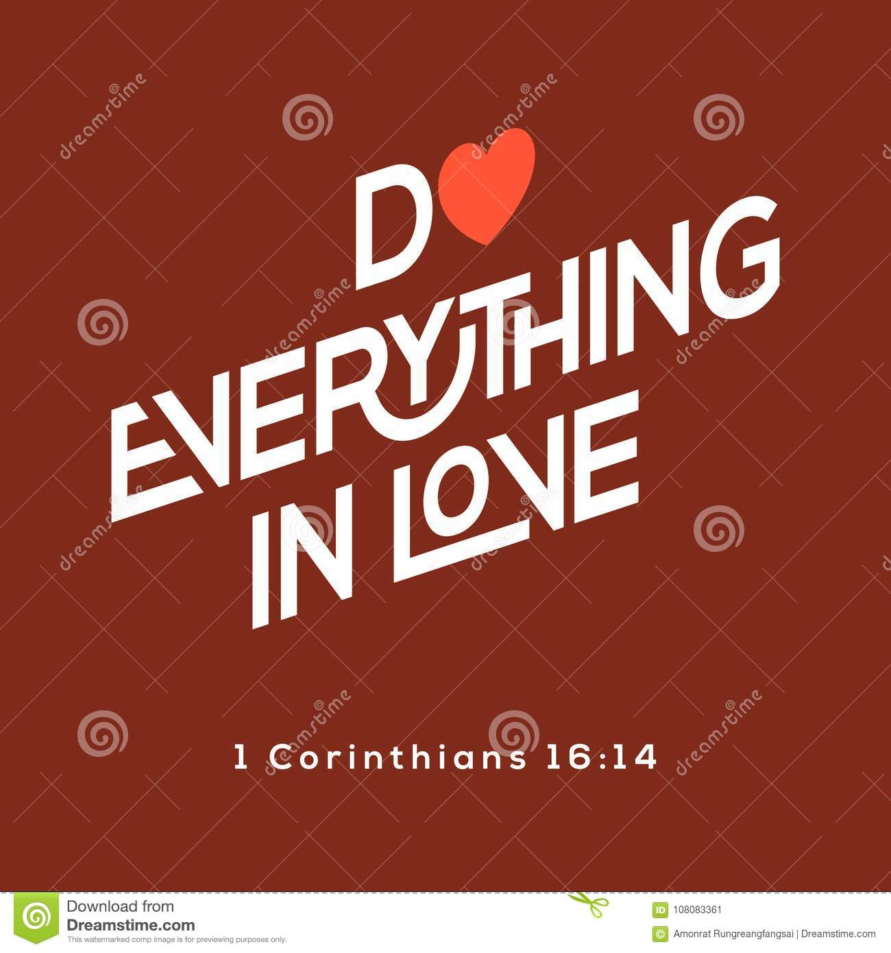 bible quote do everything in love stock vector illustration of