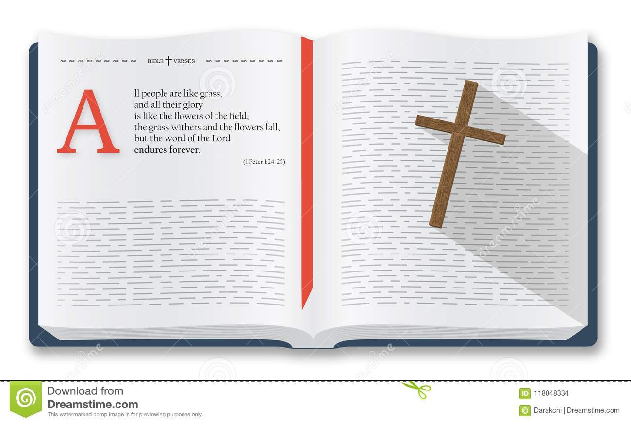 Best bible verses to remember 1 peter 124 25 holy bible quotes about people and the word of god bible illustration isolated over white background