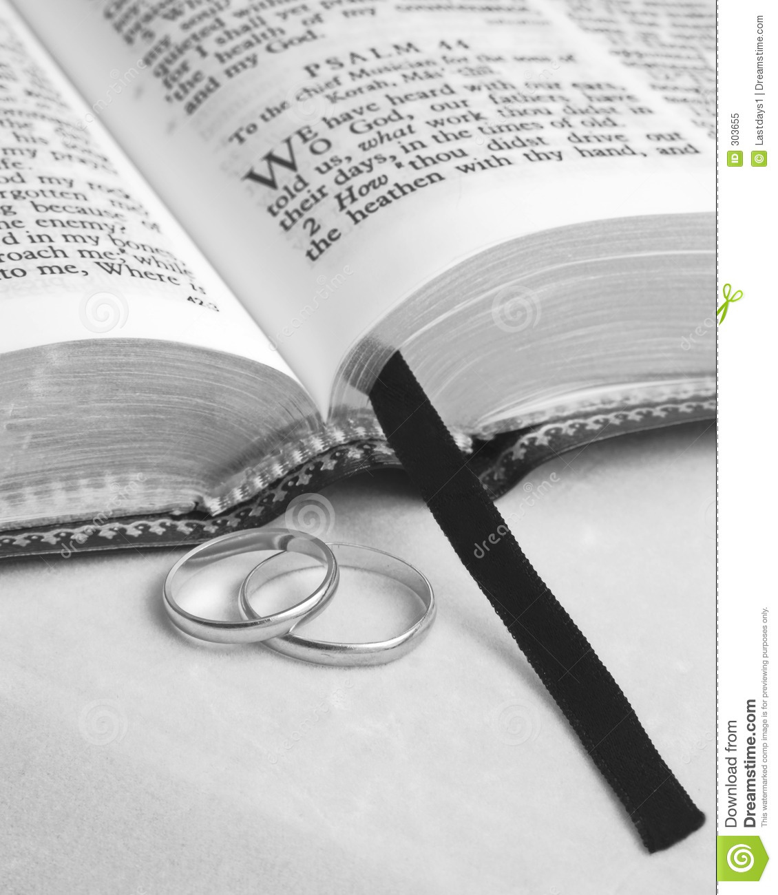 Wedding Ring Bible Quotes: Bible And Rings Royalty Free Stock Photo