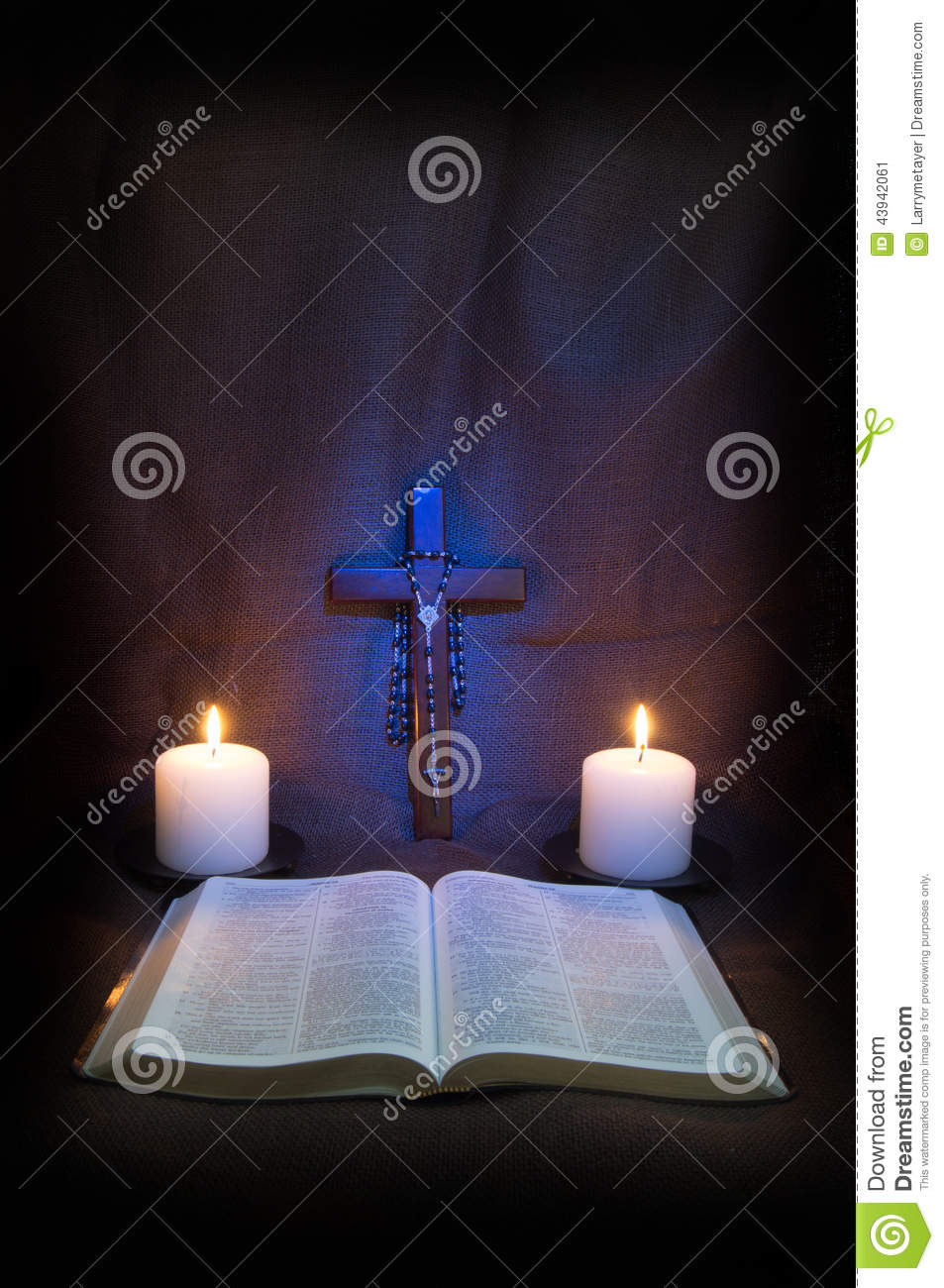Bible, Rosary, Crucifix and Two Candles