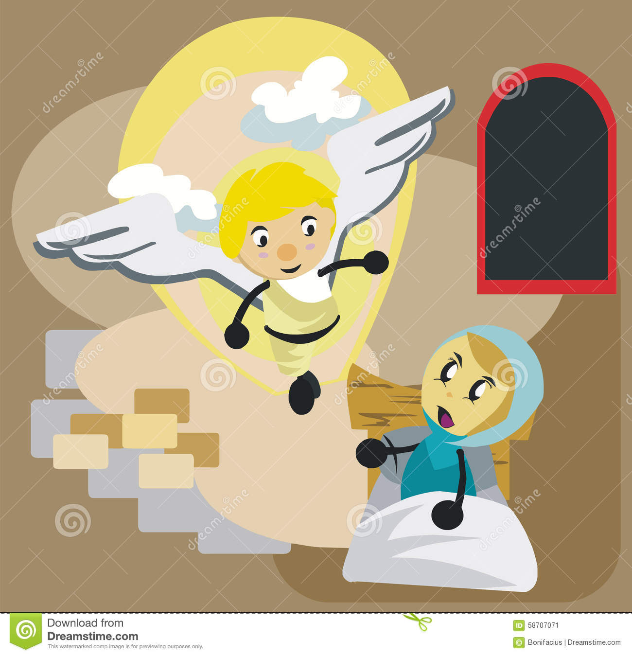Mary And Angel Gabriel Cartoon Stock Vector Illustration Of Mother