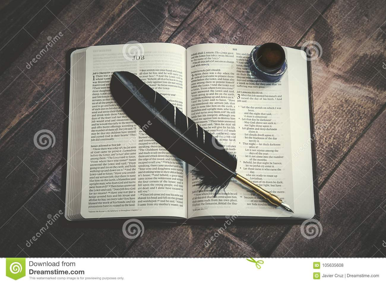 bible with writer s quill stock photo image of book 105635608