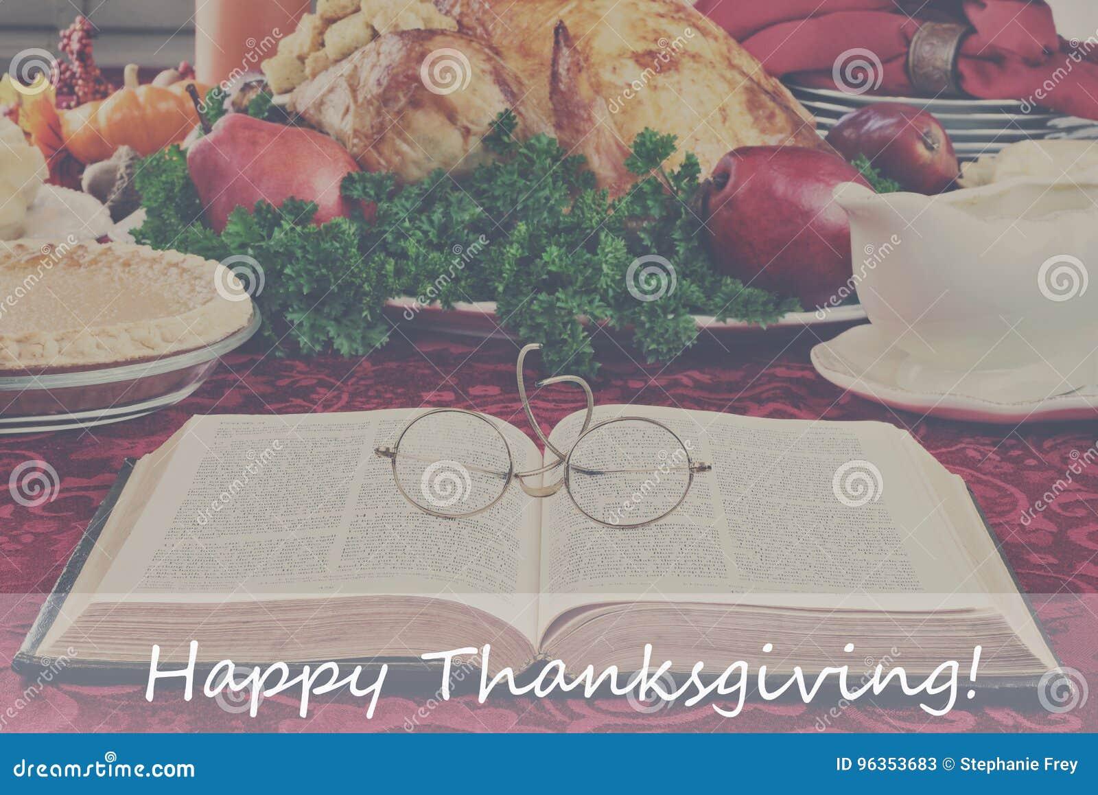 Biblia i wakacje gość restauracji z Szczęśliwym dziękczynienie tekstem