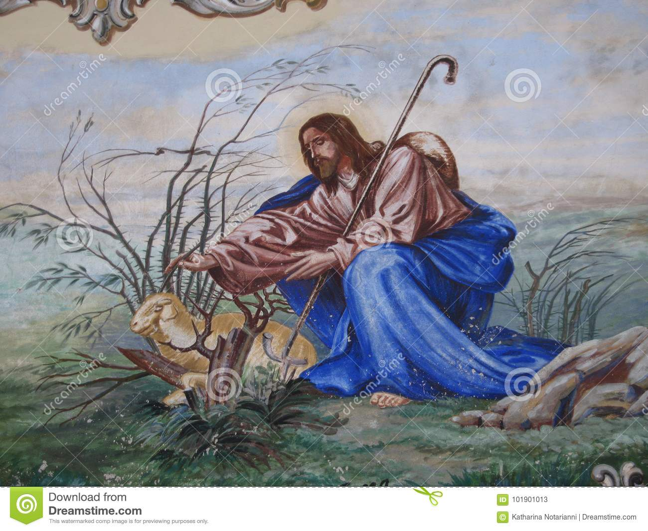 Biblical Art Christian Imagery Shepherd with Lamb