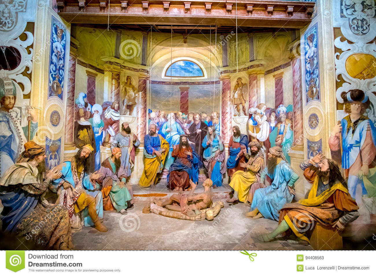 Biblical Character Scene Representation Of Jesus Christ Making A Miracle Healing Paralytic
