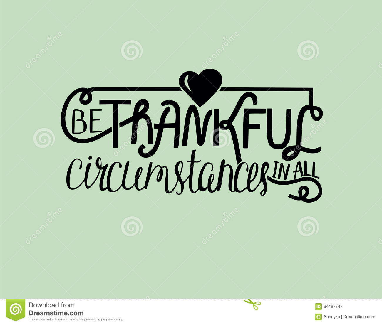 Biblical Lettering Be Thankful With Heart. Stock Vector   Illustration Of  Flavor, Biblical: 94467747