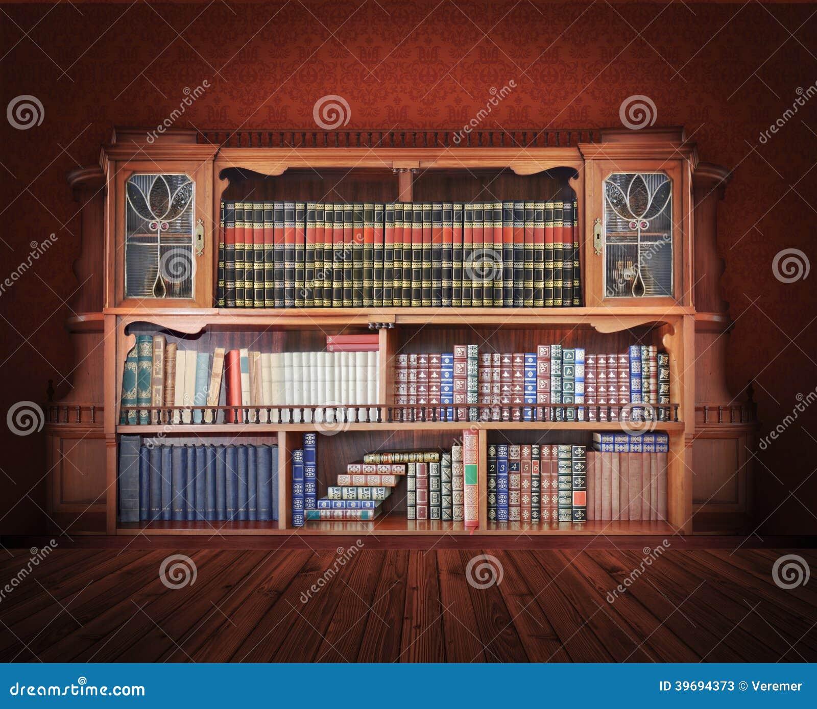Biblioteca classica mobilia antica immagine stock for Mobilia download