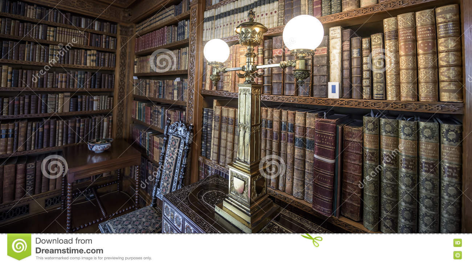 Biblioteca molto vecchia, scaffali per libri del XVI secolo con luce antiquata
