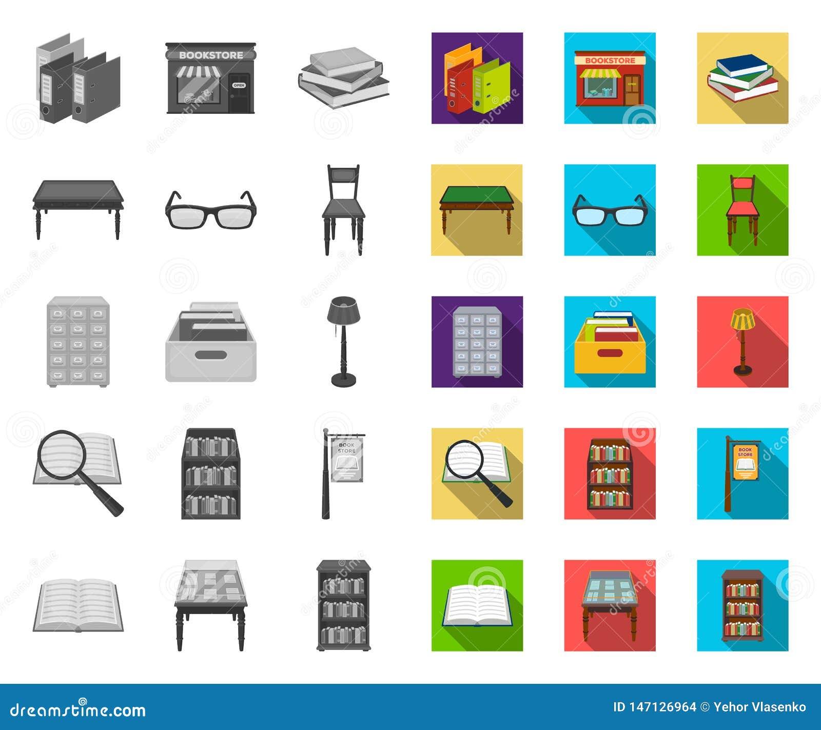 Biblioteca y librería mono, iconos planos en la colección determinada para el diseño Libros y web de la acci?n del s?mbolo del ve