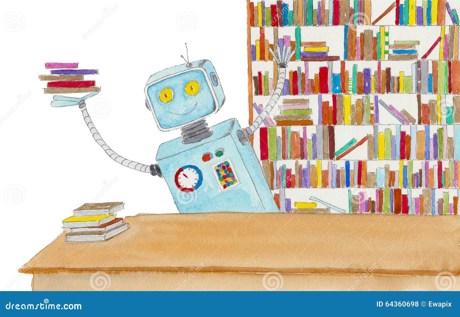 Bibliotecario del robot stock de ilustración. Ilustración de ...