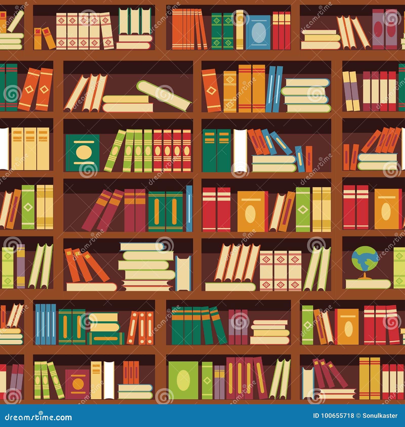Biblioteczny książkowej półki wektoru bezszwowy wzór literatura rezerwuje