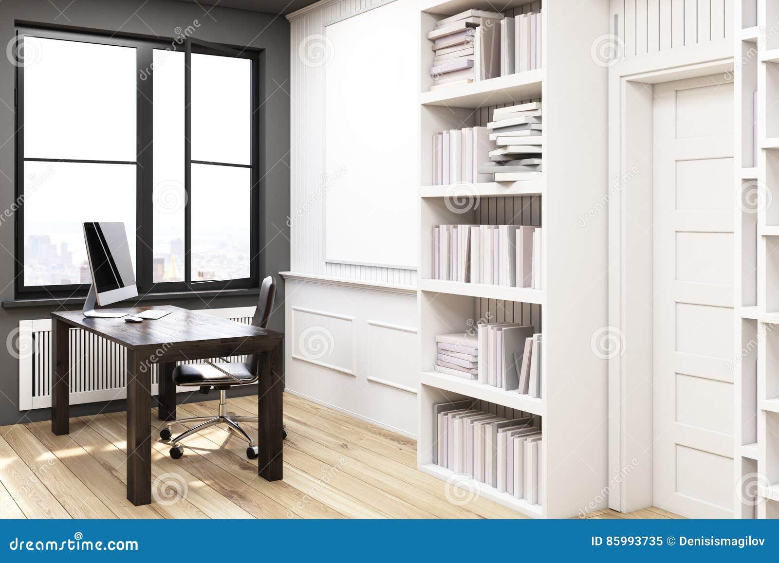 Bibliothèque à la maison avec un bureau blanc vue de côté