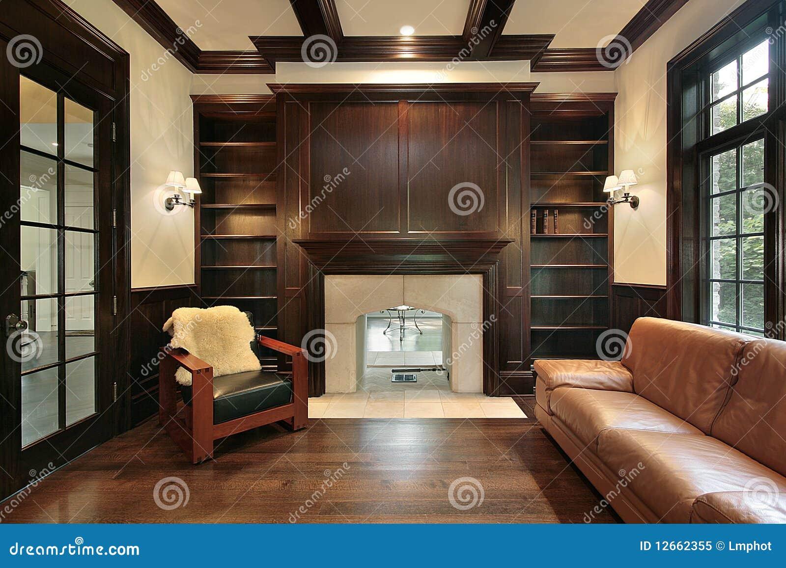 biblioth que avec la chemin e de marbre photo libre de droits image 12662355. Black Bedroom Furniture Sets. Home Design Ideas