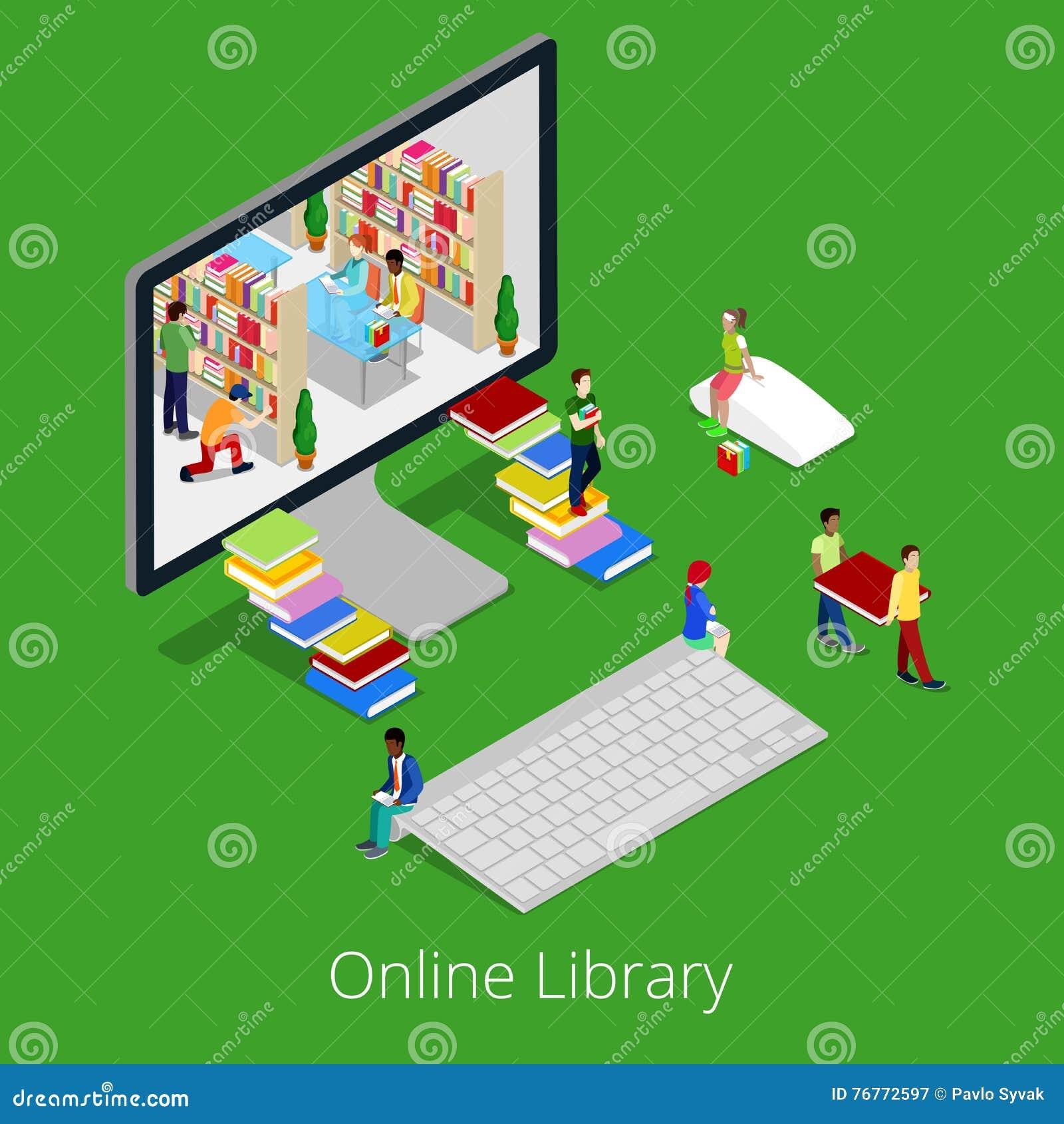 Bibliothèque en ligne isométrique Livres de lecture de personnes à l intérieur d ordinateur Concept 3d éducatif plat