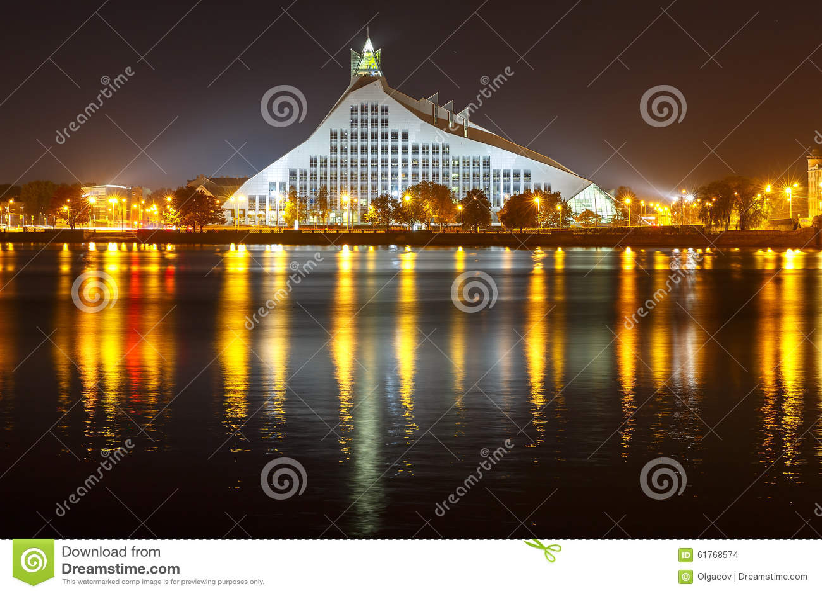 Bibliothèque nationale letton la nuit, Riga, Lettonie
