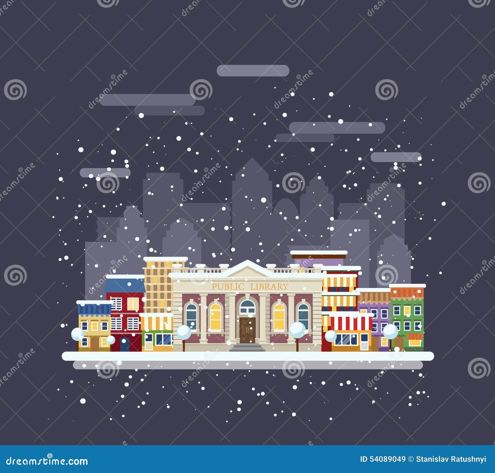Bibliotheek in een de winterstad