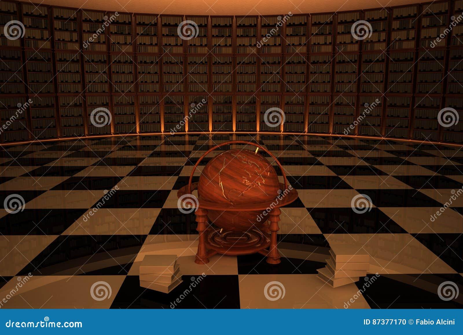 Bibliotheek met oude houten bol in centrum stock illustratie afbeelding 87377170 - Model bibliotheek houten ...