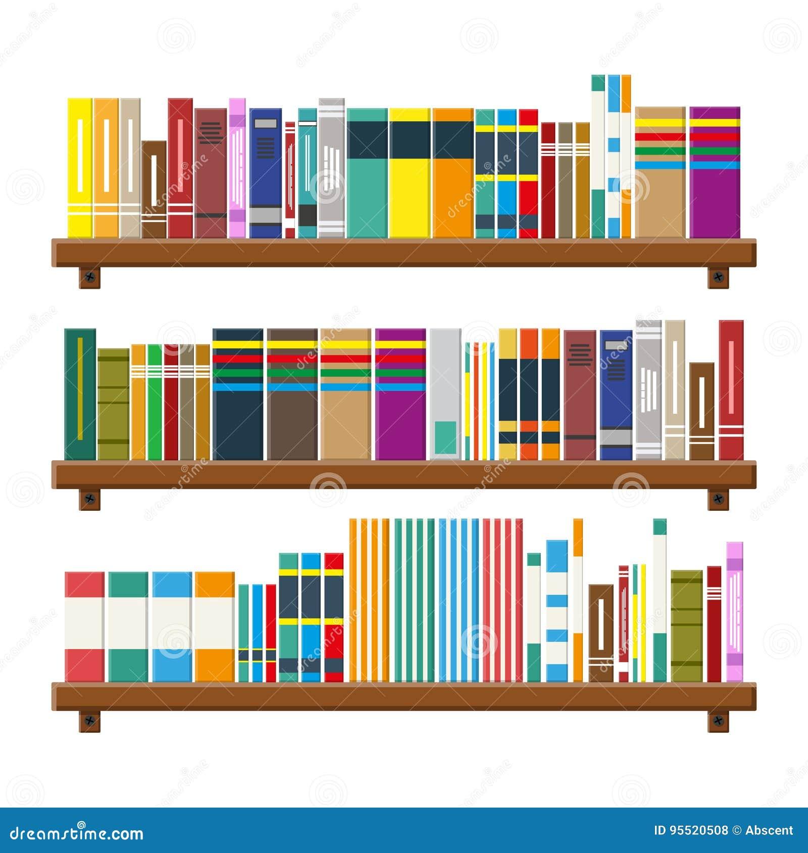 Boekenplank Met Boeken.Bibliotheekboekenplank Boekenkast Met Verschillende Boeken Vector