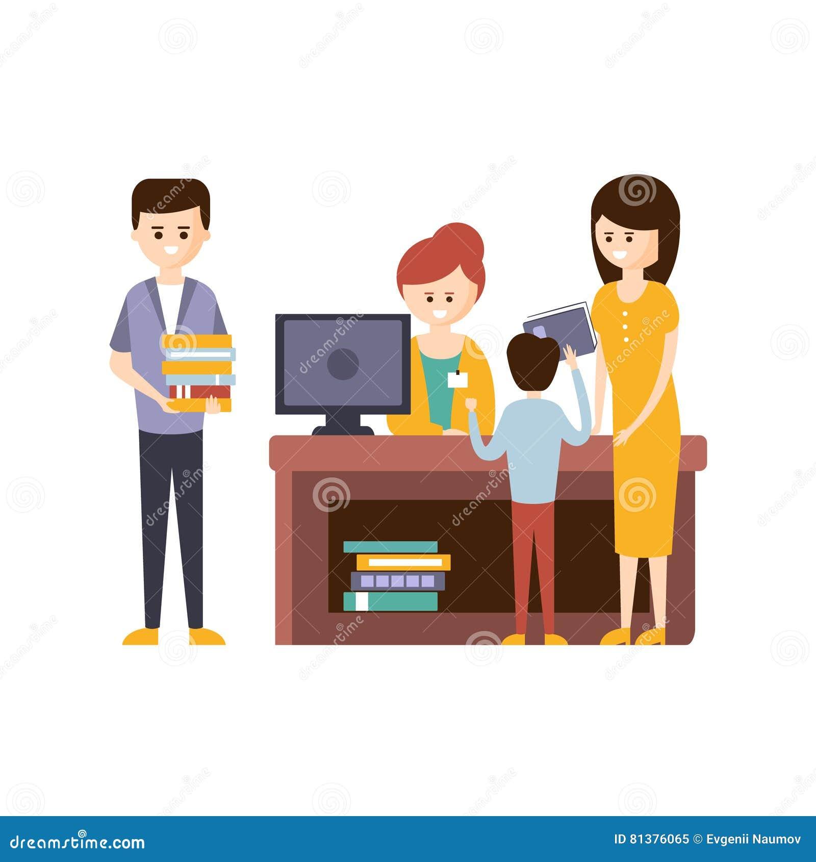 Bibliothek oder Buchhandlung mit den Leuten, die Hilfe von Bibliothekar-To Choose The-Büchern verwenden