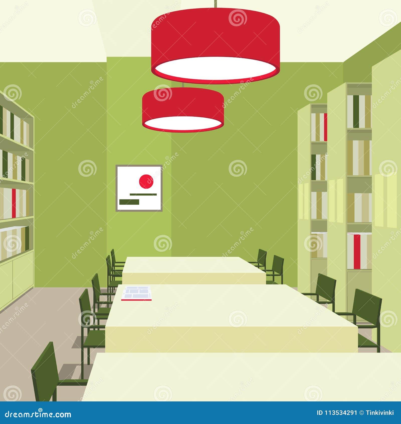 Bibliotheksinnenraum Mit Tabellen, Stühle, Bücherschränke, Lichter ...