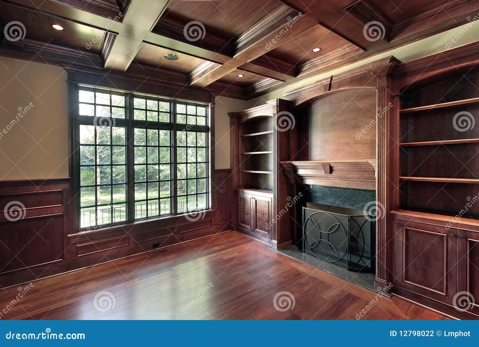 biblioth que avec la chemin e de marbre photographie stock image 12798022. Black Bedroom Furniture Sets. Home Design Ideas