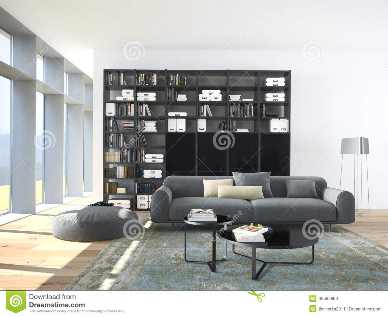 biblioth que contemporaine en bois design. Black Bedroom Furniture Sets. Home Design Ideas