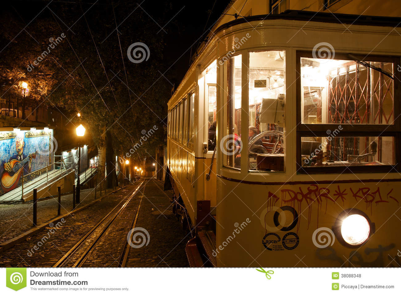 Bica Elevator In Lisbon At Night Editorial Stock Photo Image Of