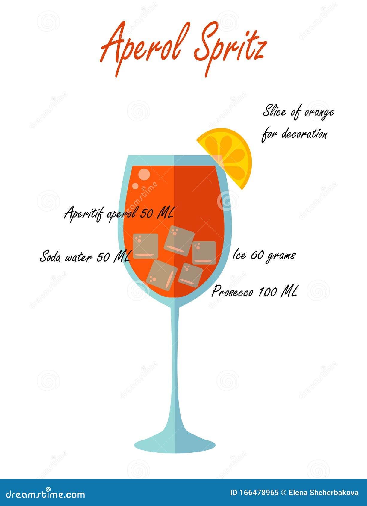 Ricetta Aperol Spritz Con Vino Bianco.Bicchiere Di Aperol Spritz A Basso Contenuto Alcolico E Ricetta Su Fondo Bianco Illustrazione Vettoriale Illustrazione Di Elemento Fattura 166478965