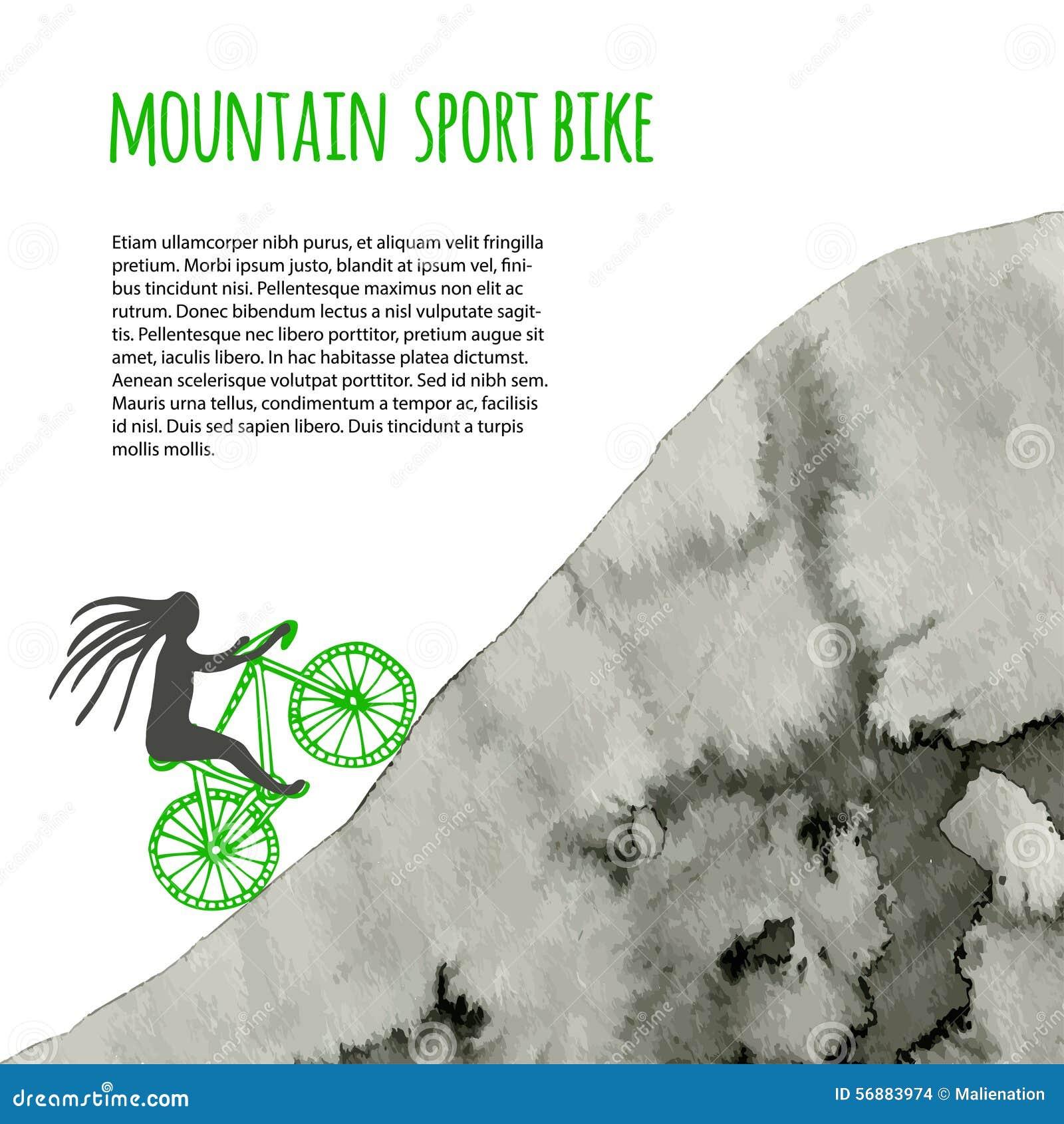 Bici di sport Manifesto di vettore con la montagna dell acquerello