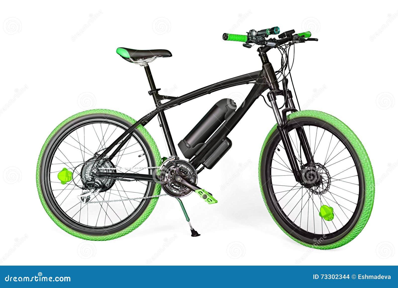 Bici Elettrica Nera E Verde Fotografia Stock Immagine Di Percorso