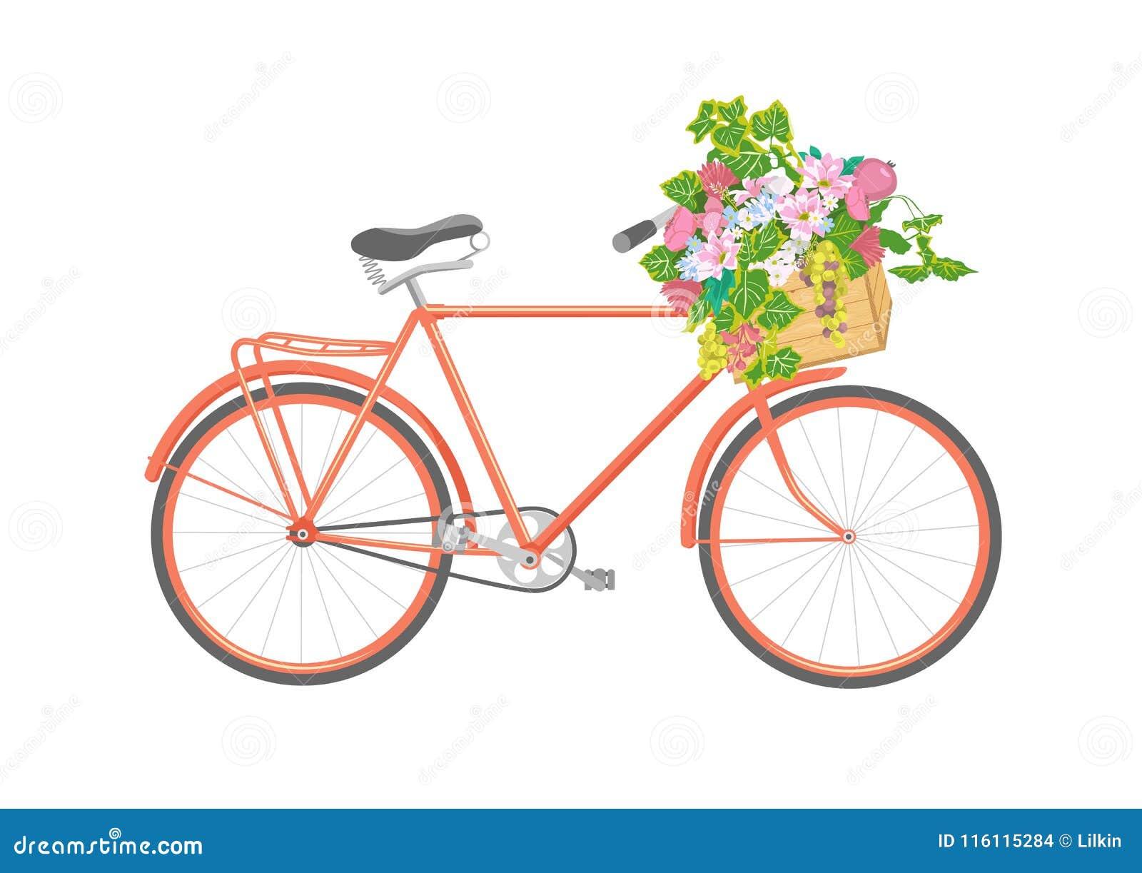 Bicicleta con las flores en caja Ilustración